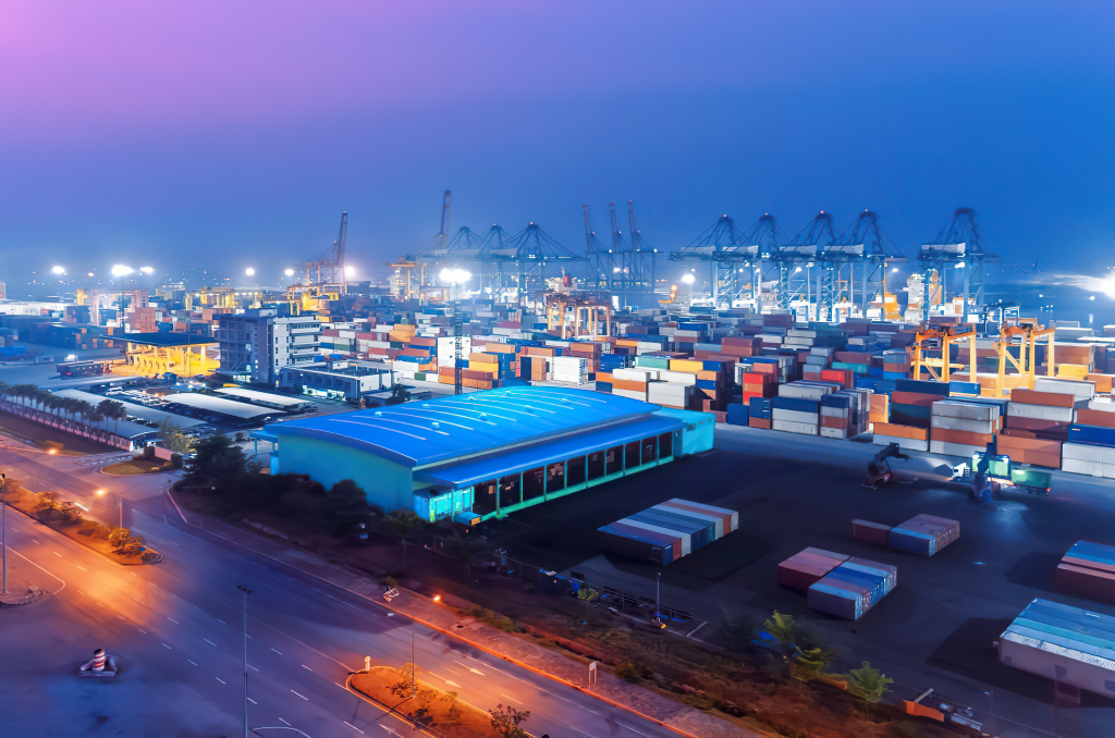 Commercial Aerial Photography industrial port nightime