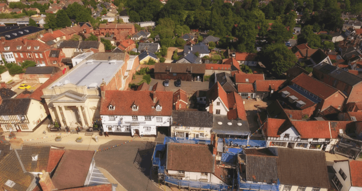 Greyhound Pub diss norfolk - drone imagery