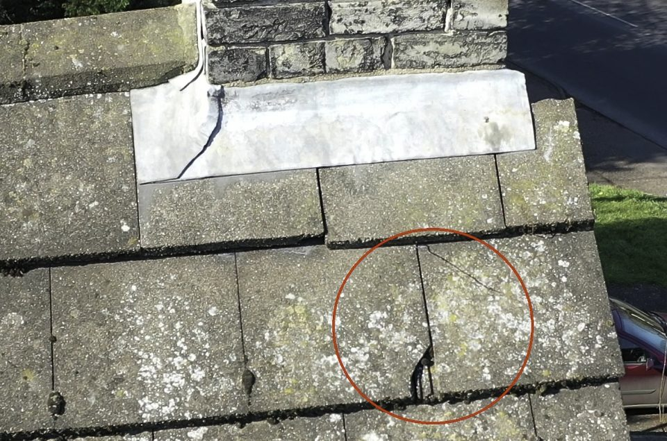 Roof Inspection Case Study Thomas Paine Hotel Cracked Tile